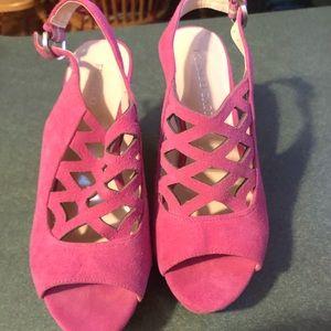 Pink peep-toed platforms